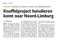 ARtikel Limburger Knuffelproject Stichting ZorgDier