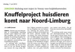 ARtikel Limburger Knuffelproject Stichting ZorgDier